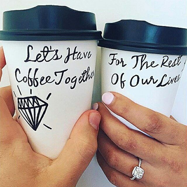 Let's have coffee together for the rest of our lives ❤️ #regram from @hollykintscher. Diamond halo engagement ring is  Ring style 17086W14 on JamesAllen.com  #jamesallenrings #engagementring #ManiMonday
