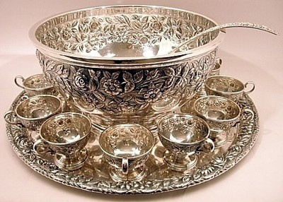 S. KIRK & SON STERLING SILVER PUNCH SET- BOWL, TRAY, 12 CUPS, LADLE