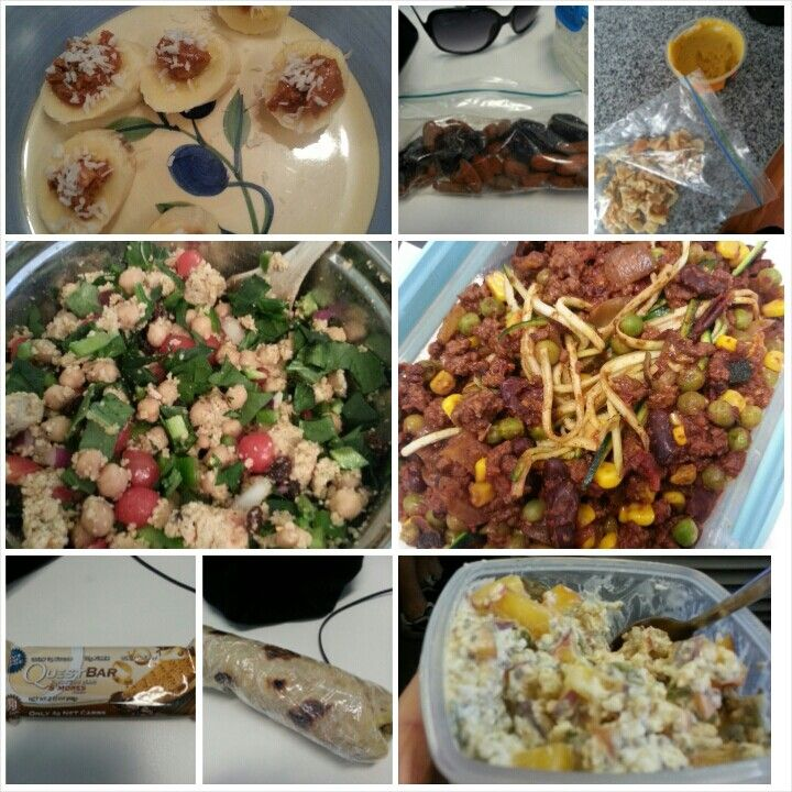 12 Feb 15 B: overnight oats S: mini curry rotti and a quest bar L: zoodles bolognaise S: almonds & 3 prunes, pita chips and hummus D: morrocan chicken and couscous salad S: 1/2 a banana with 1 tsp pb and a sprinkle of coconut