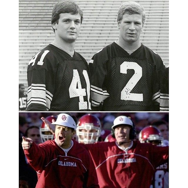 #TransformationTuesday: Bob and Mike Stoops - played together then, coach together now! #StoopsSquared #BoomerSooner