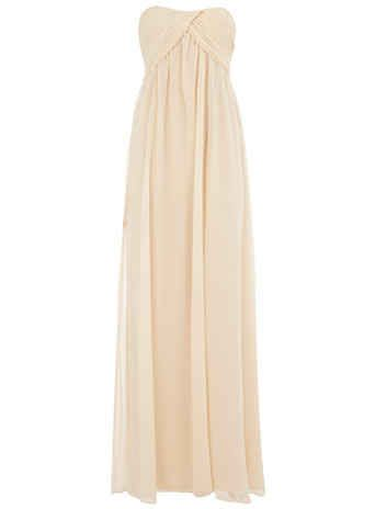 Cream Ruched Bandeau Maxi Dress | 50 Insanely Cute Prom Dresses Under $50