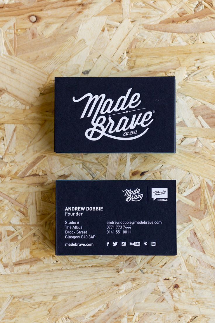black white and teal matte quadplex business cards for madebrave creative agency glasgow