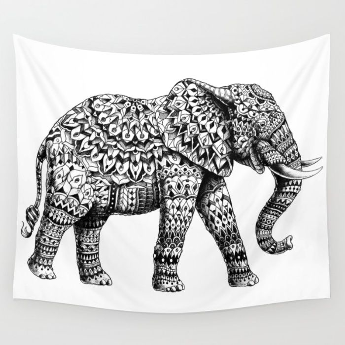 Ornate Elephant 3.0 Wall Tapestry