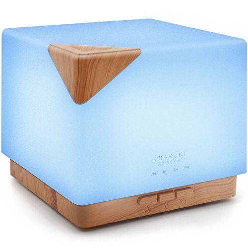 2017 ASAKUKI 700ml Premium, Essential Oil Diffuser, 5 In 1 Ultrasonic Aromatherapy Fragrant Oil Vaporizer Humidifier, Purifies The Air, Timer and Auto-Off Safety Switch, 7 LED Light Colors  5-IN-1 AROMATHERAPY DEVICE: This ultrasonic essential oil diffuser is an amazing multifunction aromatherapy device unlike any other you've ever used. It features a large and easy to clean 700ml water tank, 7 different LED light colors, multiple mist nebulizer modes, as well as a safety auto-switch t...