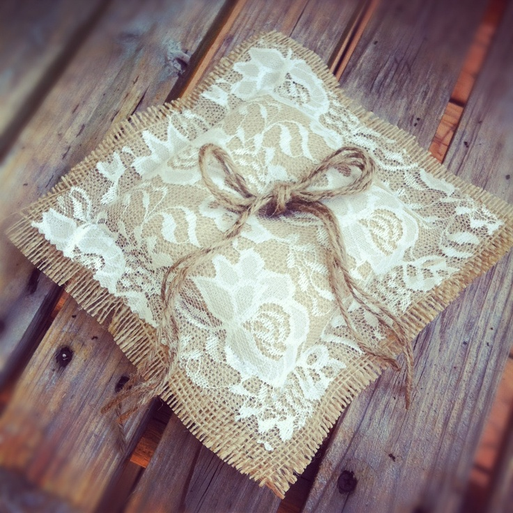 BURLAP RING BEARER Pillow -