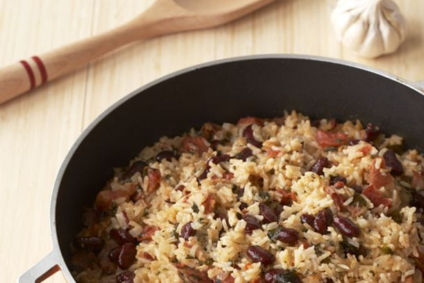 Coconut Rice and Beans (Great! I cut the recipe in half and it was still too much. Rinse the rice before hand.)