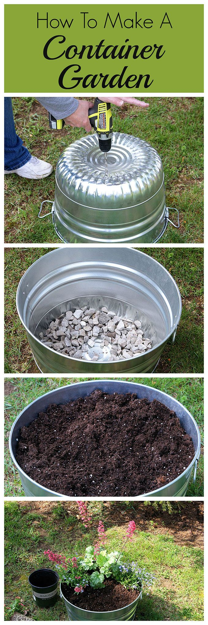 This how to guide for container gardening includes plant selection, instructions to prepare your container and a tip to make potting soil go farther.