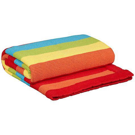 Buy John Lewis Striped Pram Baby Blanket, Rainbow Online at johnlewis.com