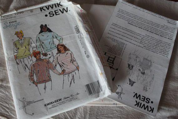 Vintage Kwik Sew 1980s Sewing Pattern 1996 UNCUT Misses Sweaters & Vest Multisized XS-XL
