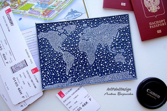 Leather passport cover World map Personalized Wallet
