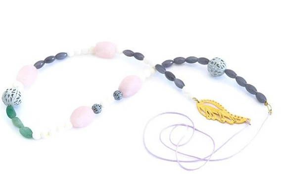 Long Gemstone Beaded Necklace With Gold Feather, Symbolic Gift For Separated Woman, Bohemian Jewellery For Wife's Birthday, Literary Present #BohemianSummerTales #longbeadednecklace #feathernecklace #pastelgemstonejewelry