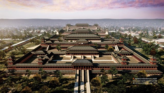 A reconstruction of the Weiyang Palace of the Han Dynasty in Xi'an, Shaanxi Province, created on the basis of aerial views by Yang Hongxun.  This was the largest palace ever built on Earth, covering 4.8 km² (1,200 acres), which is 6.7 times the size of the current Forbidden City, or 11 times the size of the Vatican City.  Today it is located in an open field and little remains of the former palace.