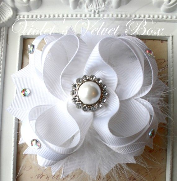 Wedding White Hair Bow Luxurious Boutique Bow by VioletsVelvetBox, $9.99
