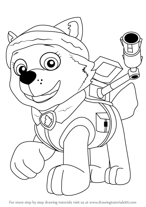 How to draw Everest a female character from Paw Patrol ...