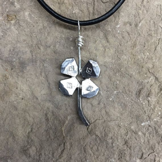 Horseshoe Nail Four Leaf Clover Necklace by WirestormCreations