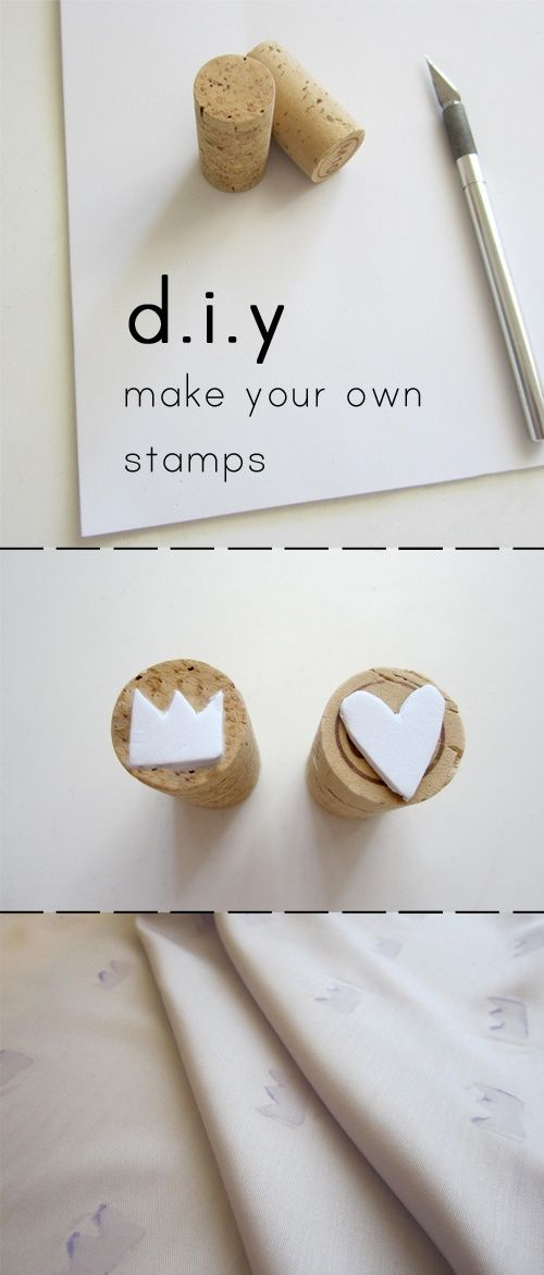 DIY Stamps! All you need are wine corks, self-adhesive foam sheets, and an exacto knife.