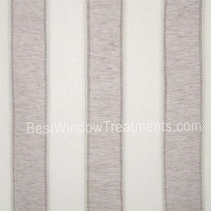 St. Tropez Stripe Curtains In Grey/creamy White Color  Lightweight Linen  Blend With