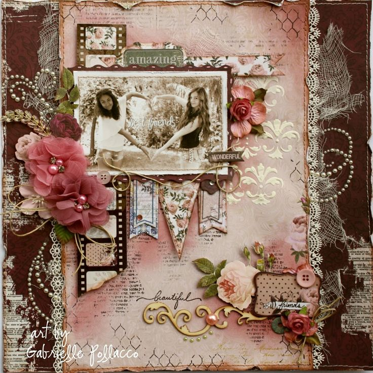 Best Friends ~ Bo Bunny's NEW 'Rose Cafe' Layout by Gabrielle Pollacco. [Such a pretty mess] Found on bloglovin.com ~ Wendy Schultz ~ Heritage & Vintage Pages.