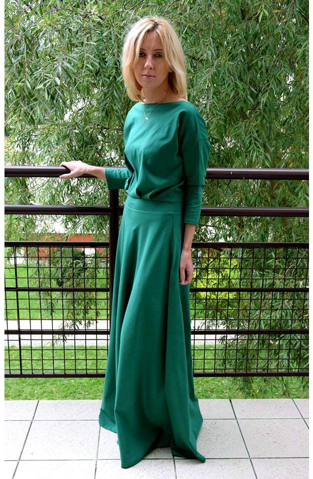 SISTERS DŁUGA DZIANINOWA SUKIENKA KORNELIA ZIELONA - sisters164 - Sukienki maxi