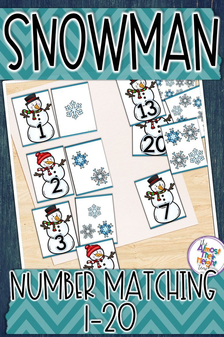 1 to 1 counting and number matching with these cute snowman and snowflakes.  Students count the snowflakes (subitizing) and match it to the correct number card.  Grab a copy today. #subitizing #1to1counting #kindergarten #mathcenter # matching #numbers1to20 #teacherspayteachers