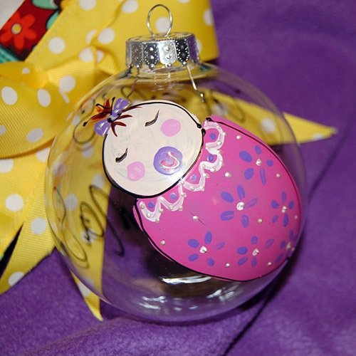Personalized Hand Painted Baby's 1st Christmas Glass Ornament by Beau-coup
