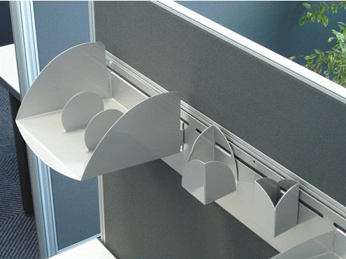 Desk based panel with accessory rail. Space saver!