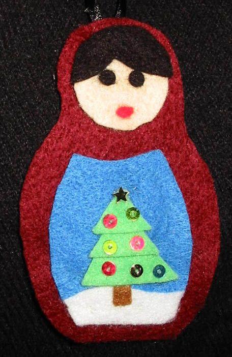 Matryoshka doll (Russian Doll) felt Christmas decoration - with Christmas tree.