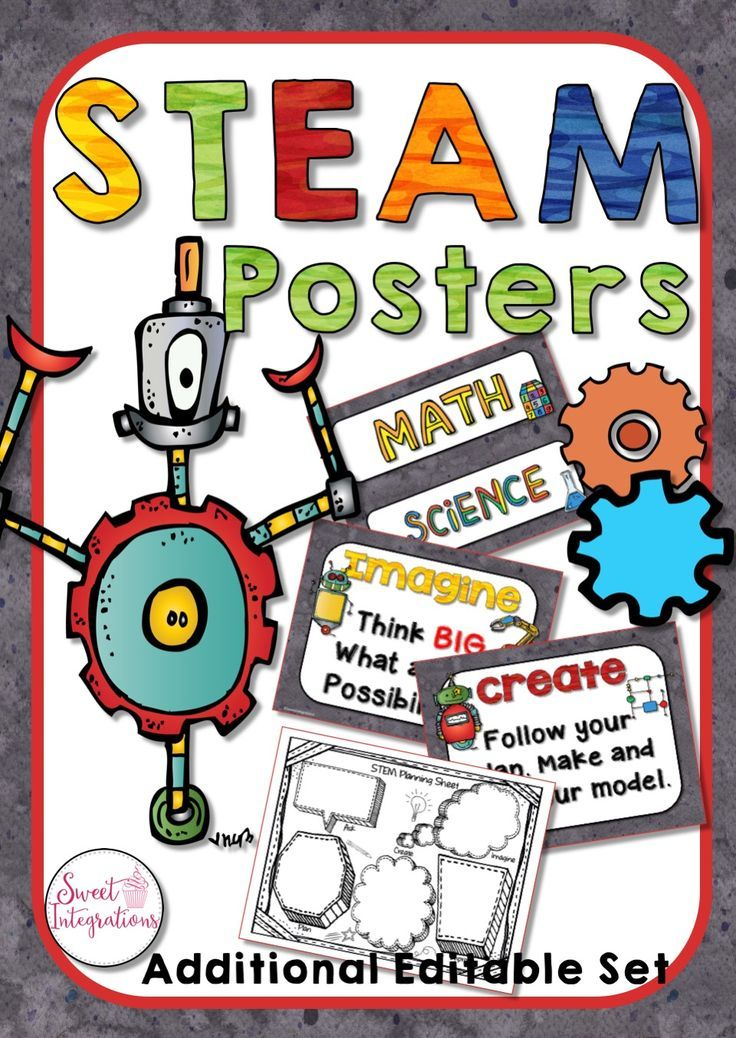 This set of colorful STEM/STEAM posters help your students as they work through the process. I've also added an editable version for teachers who want to use their own wording on the posters. I've use the robot theme for the set. Excellent for Elementary grades 2-5; $
