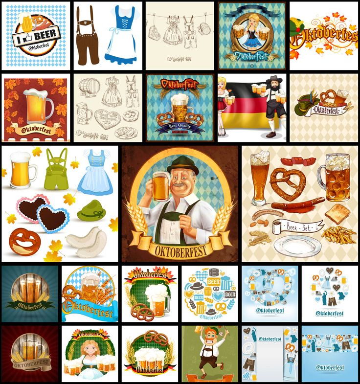 "Set of 25 vector Oktoberfest backgrounds, clip arts and other related graphic elements with illustrations of bear, Germans, national costumes and food. Format: Ai or EPS stock vector clip art. Free for download. Vector set name: ""25 Oktoberfest clip art…"