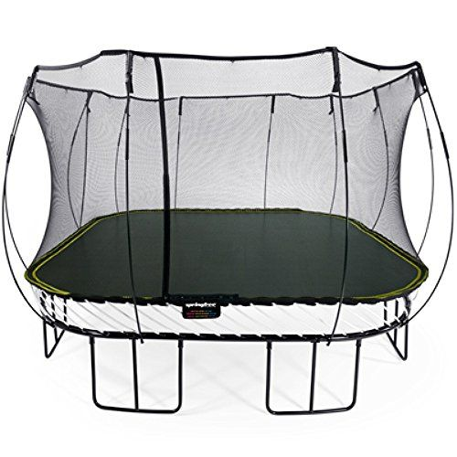 Springfree Jumbo Square Trampoline with a bounce area of 13ft x 13ft. The link takes you to Amazon. By buying through it we may receive a small commission but this has no effect on the price for you.