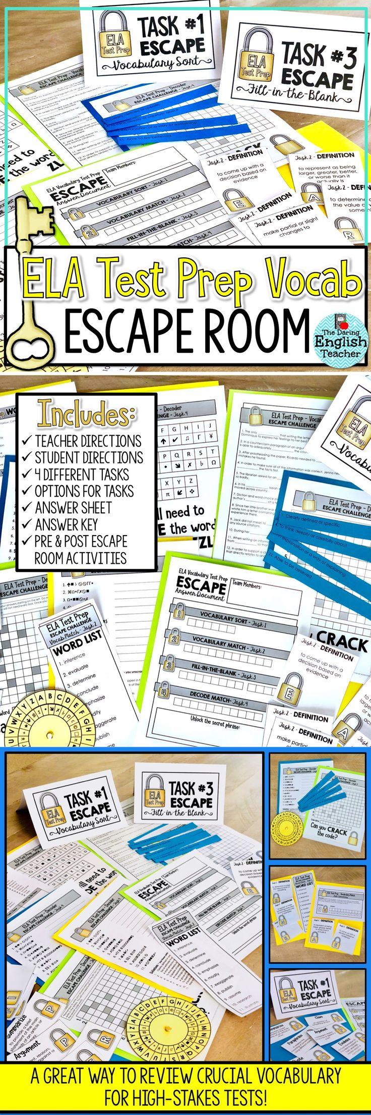 157 best vocabulary instruction images on pinterest teaching ela test prep vocabulary escape room activity fandeluxe Choice Image