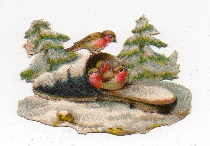 Chromo découpi die cut oblaten glanzbild scrap  Rouge gorge en hiver snow shnee