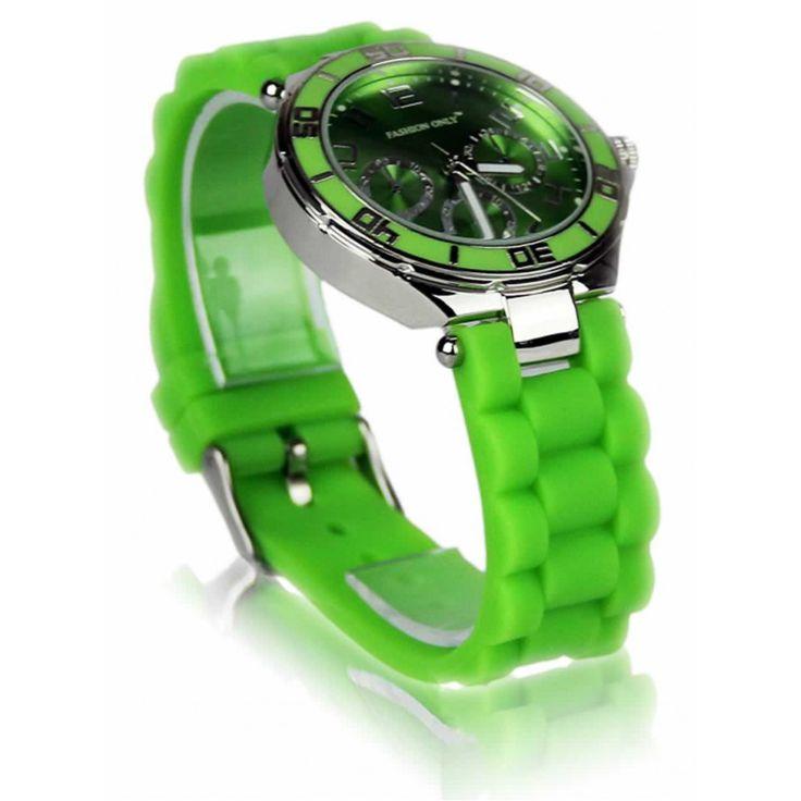 Zelené unisex hodinky s plastovým řemínkem. Průměr: 4 cm, hodinový strojek: Quartz. Střední velikost.