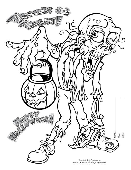 scary halloween tree coloring pages - photo#30