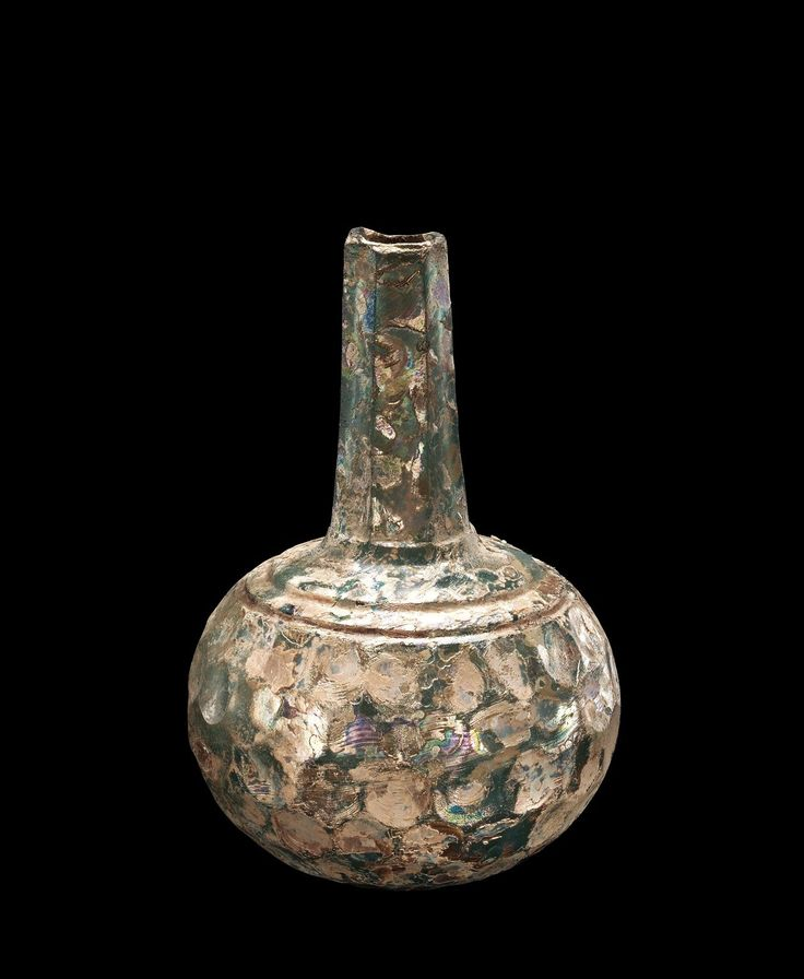 OBJECT NAME  Globular Bottle with Long Neck PLACE MADE  possibly Iran DIMENSIONS  Overall H: 19.4 cm; Body Diam: 13 cm DATE  800-999