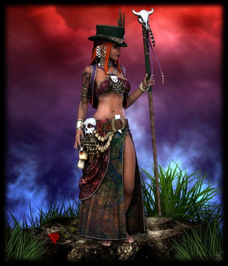 Maman Brigitte by cymbidium56 on deviantARTI -- Maman Brigitte is a death loa, the wife of Baron Samedi. She protects gravestones in cemeteries if they are properly marked with a cross. A New World loa, Maman Brigitte is syncretized with the Irish Saint Brigid.