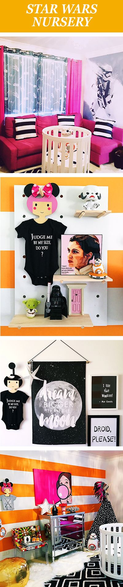 With its bold pops of color, eclectic touches, and carefully chosen character memorabilia, this has to be the most creative and edgy Star Wars nursery you've ever laid eyes on.