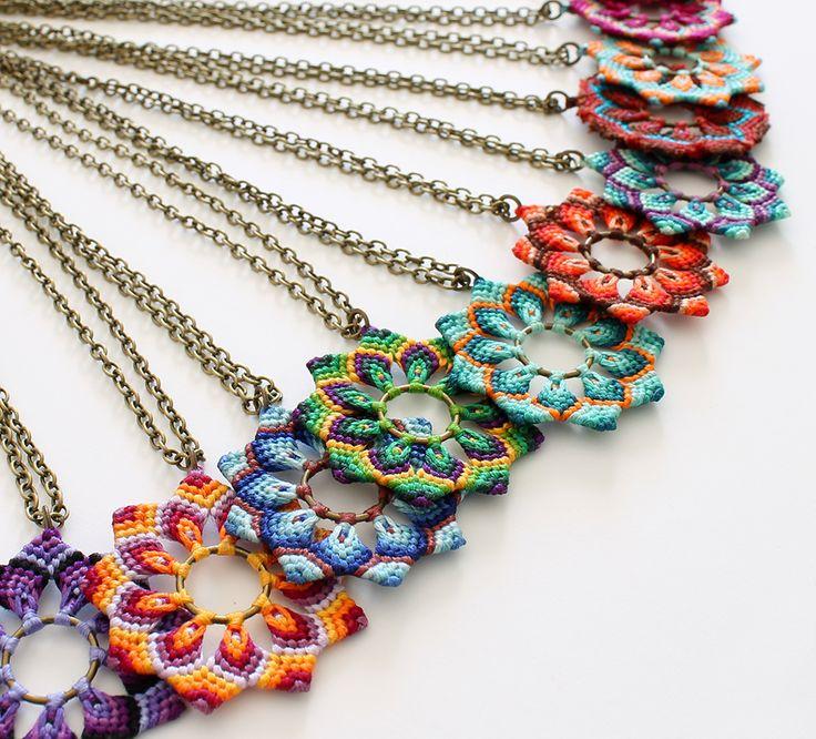 Macrame flower necklaces