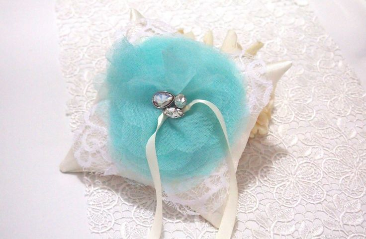 Made to Order. USD 30. Ship within 5-7 days. Shipped Worldwide.#weddingring #ringpillow #lace #flower #rhinestones #wedding #wedding accessories #tiffanyblue #tulle #ribbon #RingPillow  #ringpillow #weddinggift #weddingring #brides #holymatrimony #flowerringpillow #handmadeflower #ringpillowdianachen