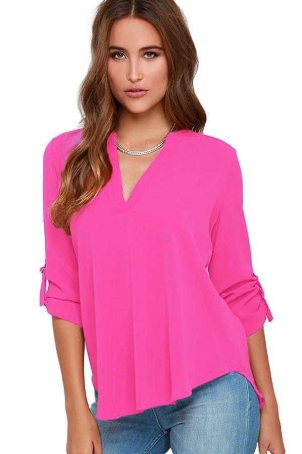 Blusas : Blusa en chifón con escote en V