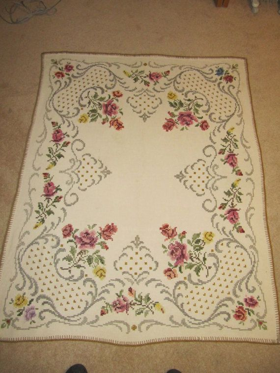 Vintage cross stitch German wool or linen table by brightcolor