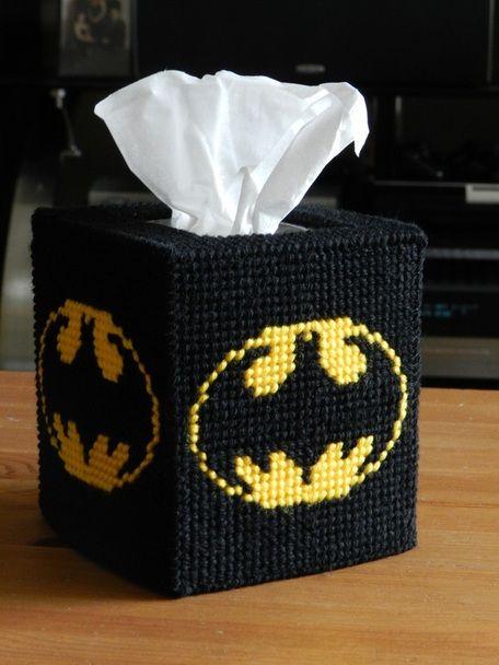 Plastic Canvas Tissue Box Patterns | Batman Tissue Box Cover - Homespooled