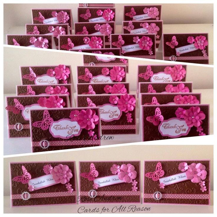 Custom made Thank You cards with emboss, polka dots ribbon, handmade flowers,circle buckle, skeleton butterfly