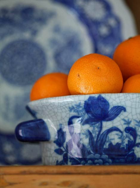 The oranges look so great in the blue & white- heck, almost anything looks great in blue & white!