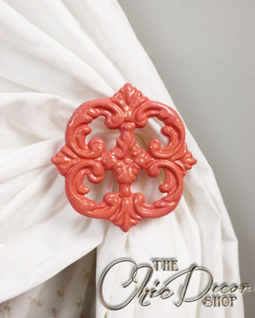 Set of Two metal / cast iron, curtain tie backs, curtain holdbacks, shabby chic decor, french country cottage decor, antique white / cream home decor, curtain accessories, home accents, drapery tiebacks, nursery decor, french cottage, fleur de lis, housewarming, gift  Includes: Set of Two (2) Curtain Tiebacks / Holdbacks Installation Screws  Measures: 4.25 in diameter and 3 from the wall. Base mounts directly to wall and measures 2x2 Matching screws are included.  Featured Color: CORAL HOT…