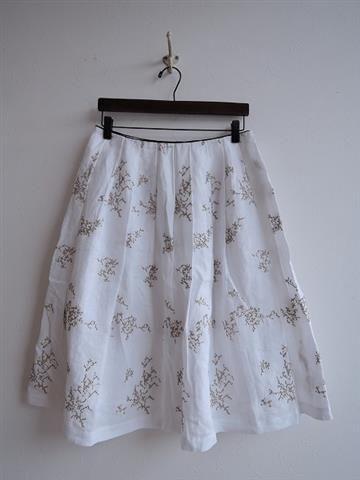 ミナペルホネン mina perhonen senko-hanabi ラメ刺繍入りリネンスカート