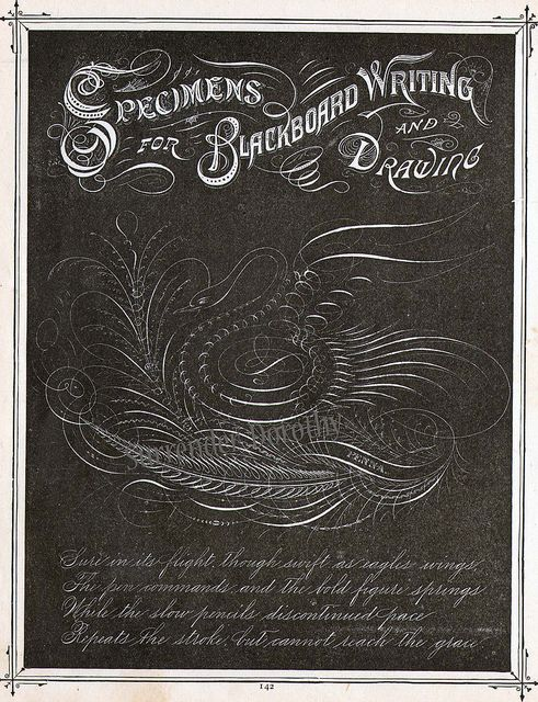 Blackboard Drawing  Victorian Calligraphy 1886 by SurrendrDorothy, via Flickr.