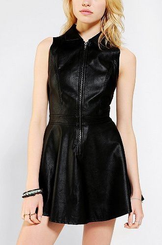 10 Post-Modern Punk Fashion Picks, All Under $150: Motel Anika Vegan Leather Zip-Front Dress from Urban Outfitters.