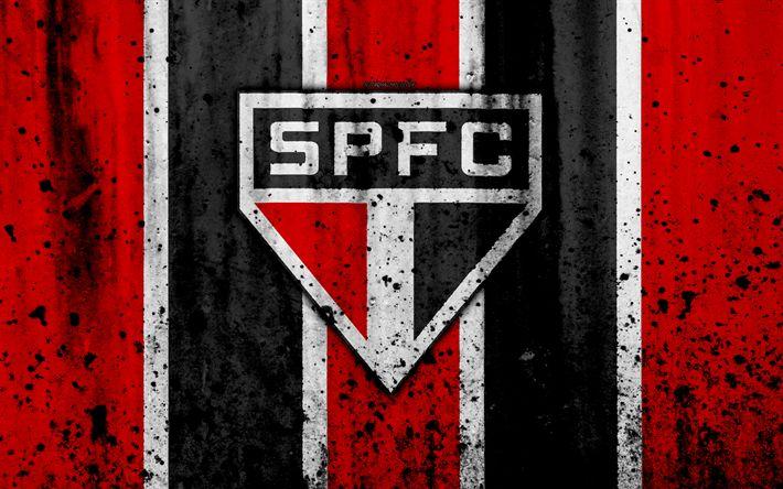 Download wallpapers FC Sao Paulo, 4k, grunge, Brazilian Seria A, logo, Brazil, soccer, football club, Sao Paulo, stone texture, art, Sao Paulo FC