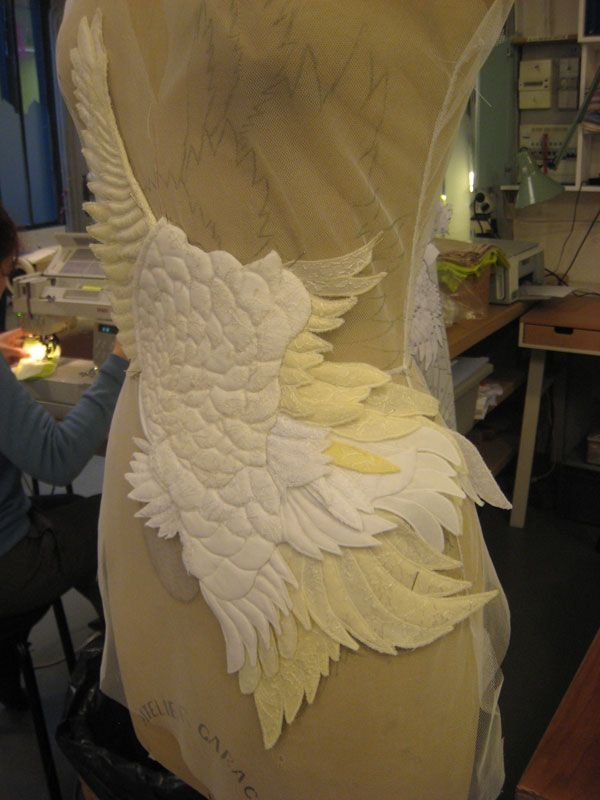 Givenchy Atelier, (the making of the swan back)